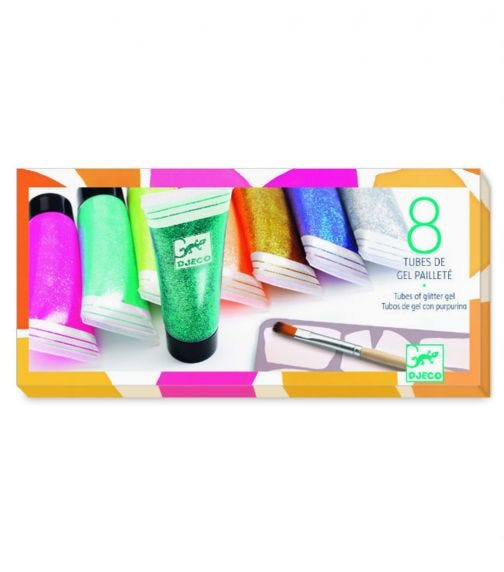 DJECO The Colors - 8 Tubes Of Glitter Gel
