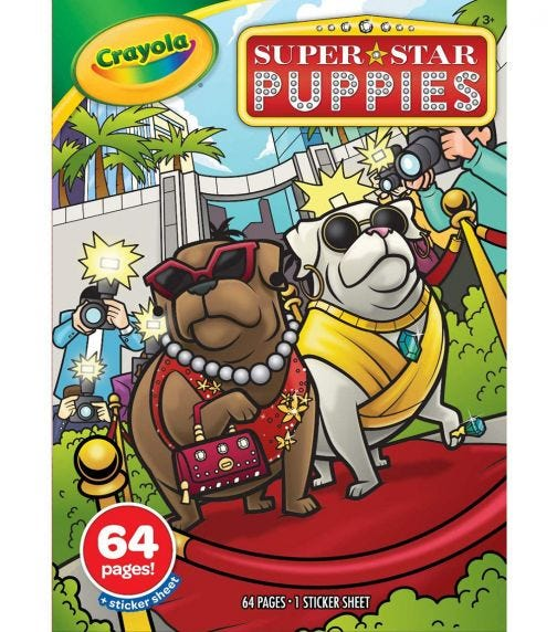CRAYOLA 64 Pages Coloring Book Superstar Puppies