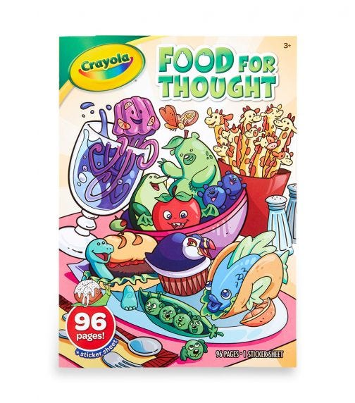 CRAYOLA 96 Pages Coloring Book With Stickers Food For Thought