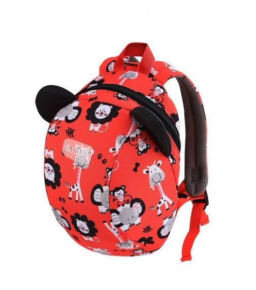 SUNVENO Kids Backpack - Zoo Red