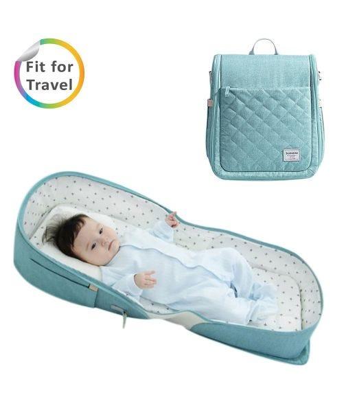 SUNVENO Portable Baby Bed & Bag - Sea Green