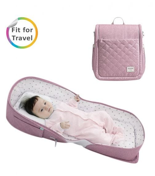 SUNVENO Portable Baby Bed & Bag - Pink