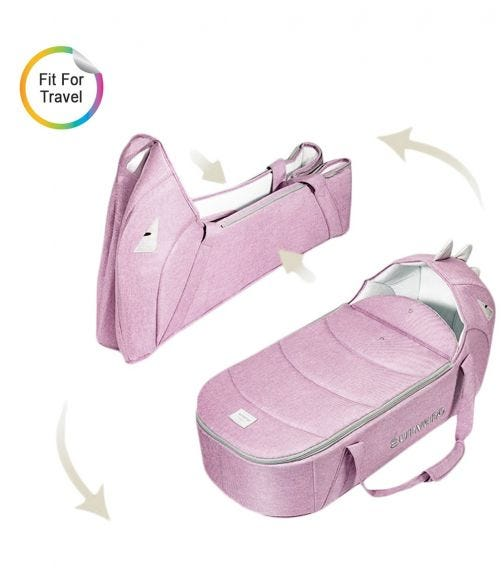 SUNVENO Foldable Travel Carry Cot - Pink