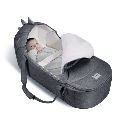 SUNVENO Foldable Travel Carry Cot - Grey