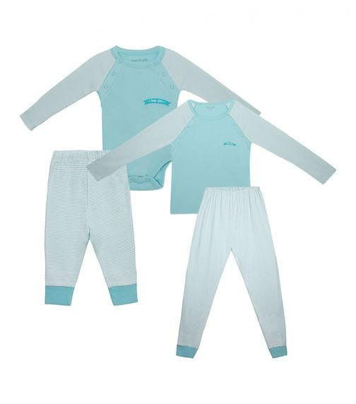 ORGANIC KID 4 Piece Set Mother And Baby Love You Arms Blue