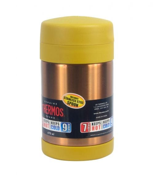 THERMOS Stainless Steel Food Jar Wide Neck With Folding Spoon- Gold- 470 ML