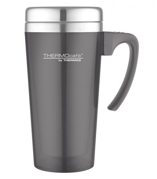 THERMOS Thermocafe Stainless Steel With Plastic Cover Drinking Mug  400 ML, Grey