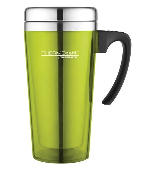THERMOS Thermocafe Stainless Steel With Plastic Cover Drinking Mug  400 ML, Lime Green