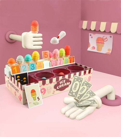 TOPBRIGHT Colorful Number Cognitive Ice Cream Learning Box