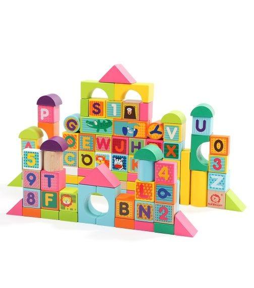 TOPBRIGHT Wooden ABC/123 Animal Blocks