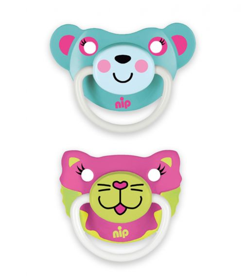 NIP Funny Animals Soothers - Silicone - Cat-Bear Turquoise - 5-18 Months