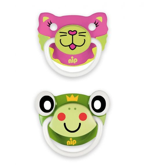 NIP Funny Animals Soothers - Silicone - Cat-Frog - 5-18 Months