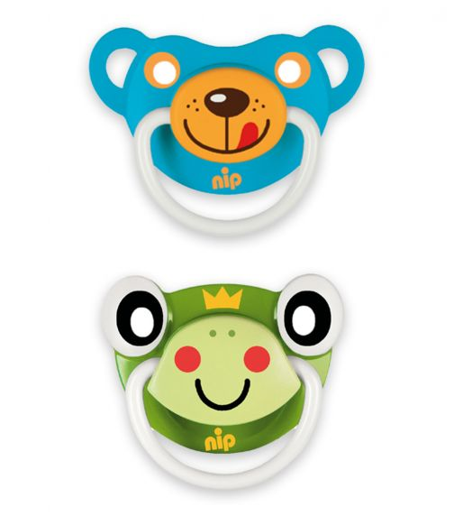 NIP Funny Animals Soothers - Silicone - Frog-Bear Blue - 5-18 Months