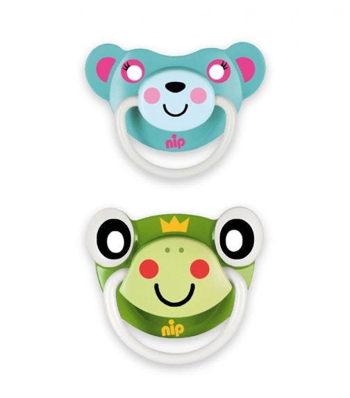 NIP Funny Animals Soothers - Silicone - Frog-Bear Turquoise - 5-18 Months