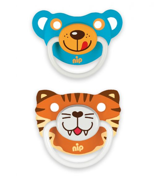 NIP Funny Animals Soothers - Silicone - Tiger-Bear Blue - 5-18 Months