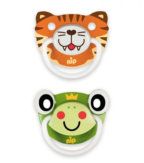 NIP Funny Animals Soothers - Silicone - Tiger-Frog - 5-18 Months
