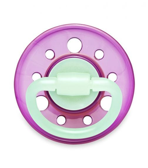 NIP Cherry Night Round Soother - Latex - Violet & Green - 0-6 Months