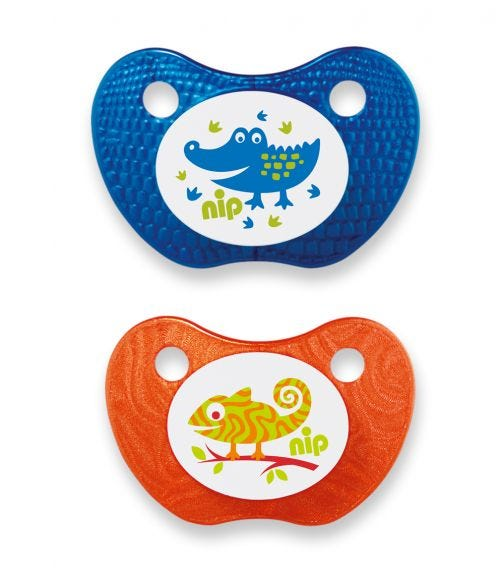 NIP Feel! Soothers - Silicone - Blue & Orange - 0-6 Months