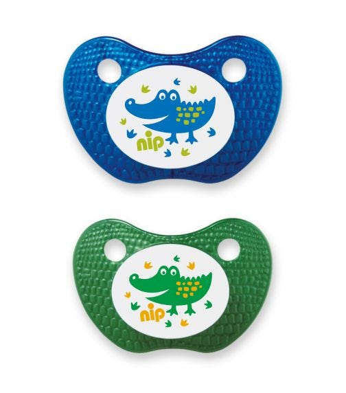 NIP Feel! Soothers - Silicone - Blue & Green - 0-6 Months