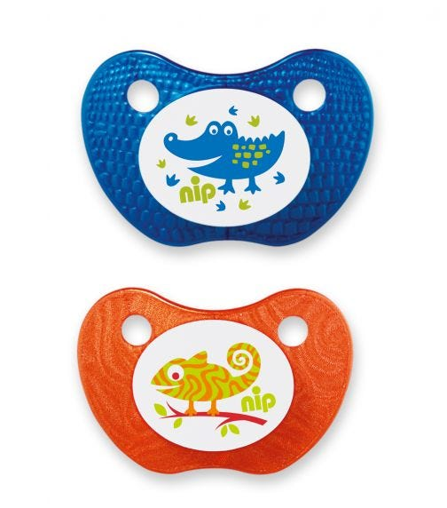 NIP Feel! Soothers - Silicone - Blue & Orange - 5-18 Months