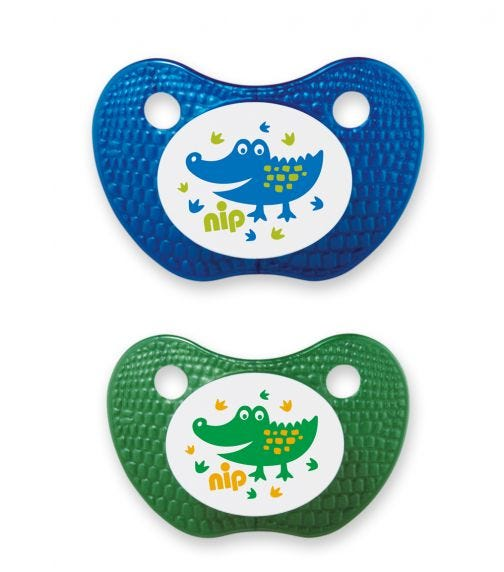 NIP Feel! Soothers - Silicone - Blue & Green - 5-18 Months