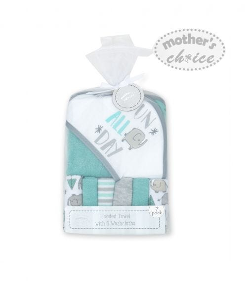 MOTHER'S CHOICE Baby Hooded Towel 6 Pieces Wash Cloths