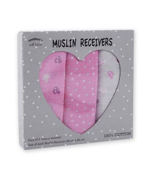 MOTHER'S CHOICE Baby 3 Pack Muslin Receiver 100% Cotton