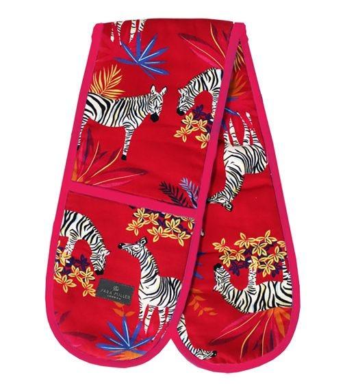 SARA MILLER Zebra Double Oven Gloves