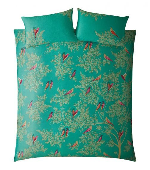 SARA MILLER Green Birds Print Double Quilt Set (200x200cm)