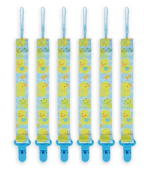 PIXIE Pacifier Holder Duck Print Pack Of 6