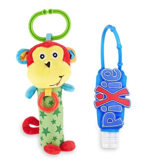 PIXIE Monkey Rattle Toy With Hand Sanitizer Combo Pack