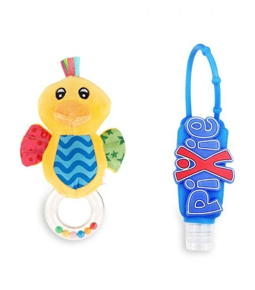 PIXIE Duck Rattle Toy With Hand Sanitizer Combo Pack