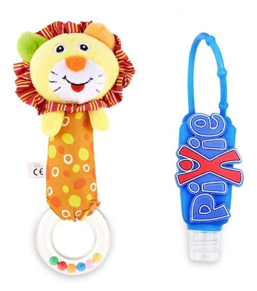 PIXIE Lion Rattle Toy With Hand Sanitizer Combo Pack