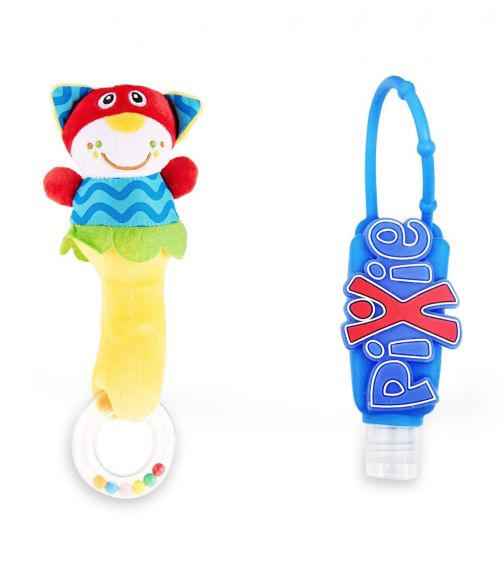 PIXIE Cat Rattle Toy With Hand Sanitizer Combo Pack