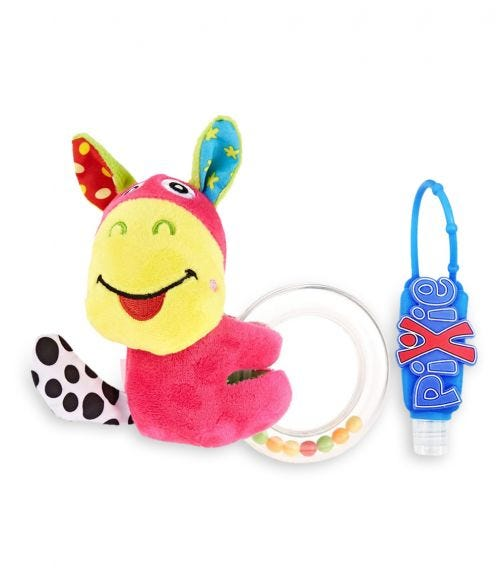 PIXIE Donkey Rattle Toy With Hand Sanitizer Combo Pack