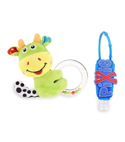PIXIE Cattle Rattle Toy With Hand Sanitizer Combo Pack