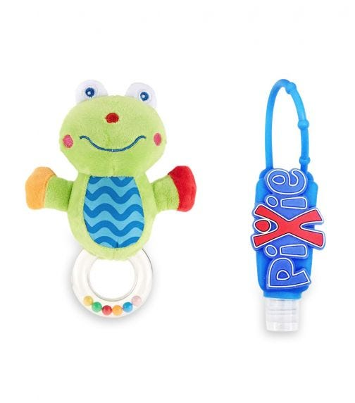 PIXIE Frog Rattle Toy With Hand Sanitizer Combo Pack