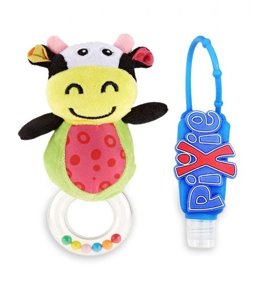 PIXIE Cow Rattle Toy With Hand Sanitizer Combo Pack