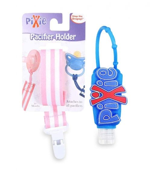 PIXIE Pacifier Pink Stripe Holder With Hand Sanitizer Combo Pack