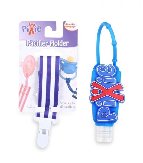 PIXIE Pacifier Navy Stripe Holder With Hand Sanitizer Combo Pack