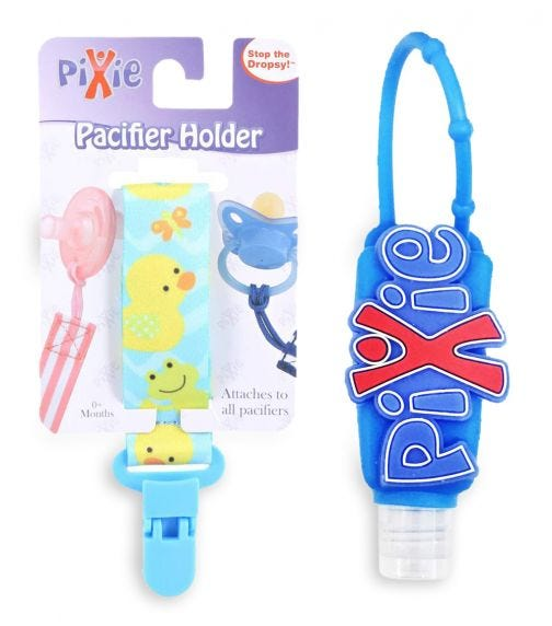 PIXIE Pacifier Duck Print Holder With Hand Sanitizer Combo Pack