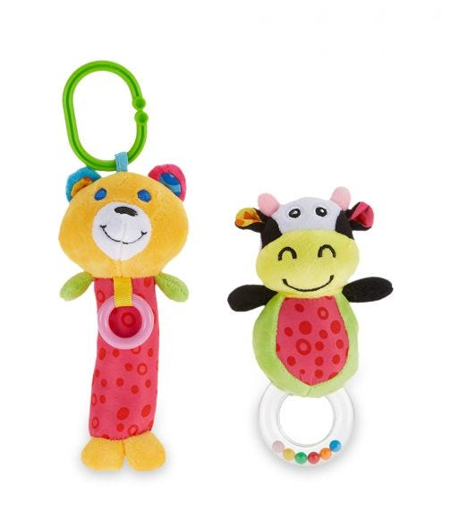 PIXIE Cow Rattle Toy + Bear Rattle Toy