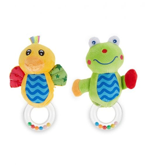PIXIE Frog Rattle Toy + Duck Rattle Toy