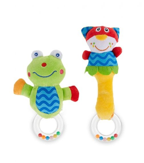 PIXIE Baby Cat Rattle Toy + Frog Rattle Toy