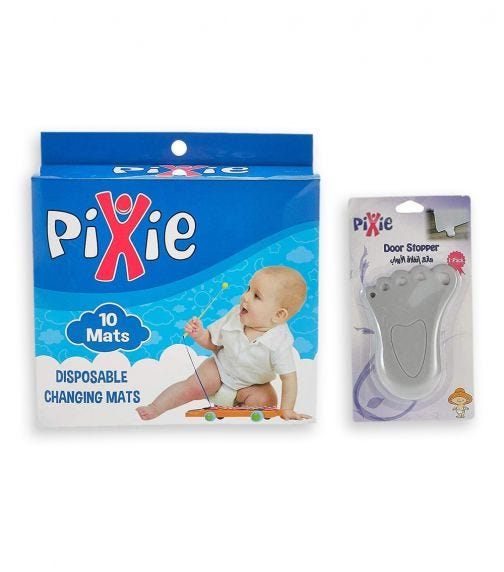 PIXIE Changing Mats + Door Stopper Baby Safety & Disposable Combo