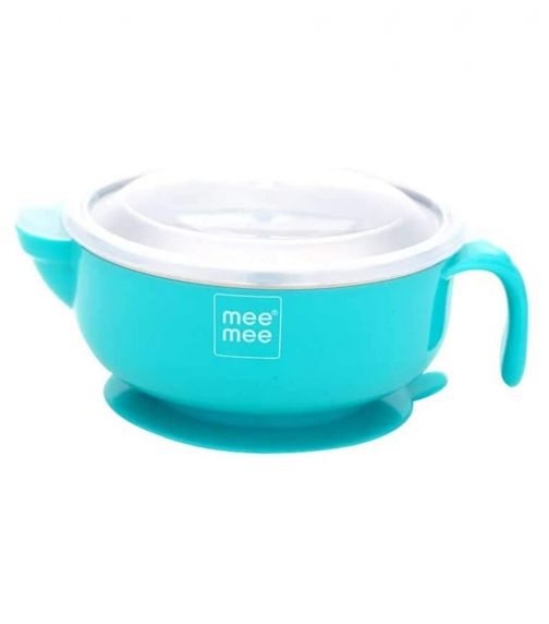 MEE MEE Stay Warm Baby Steel Bowl With Suction Base Blue