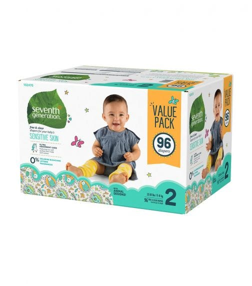 SEVENTH GENERATION Baby Diapers Mega Pack, 1/96 Stage 2