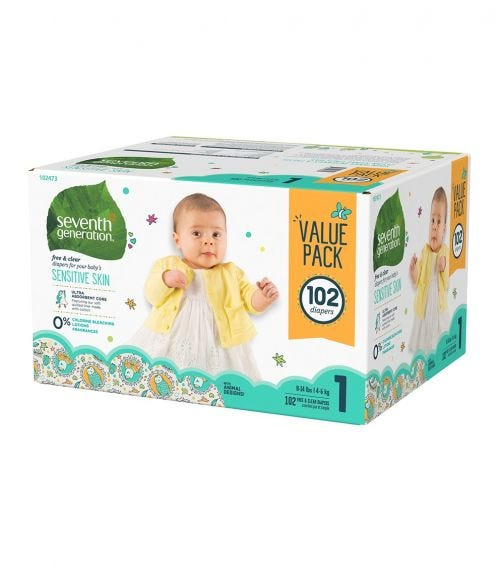 SEVENTH GENERATION Baby Diapers Mega Pack, 1/102 Stage 1