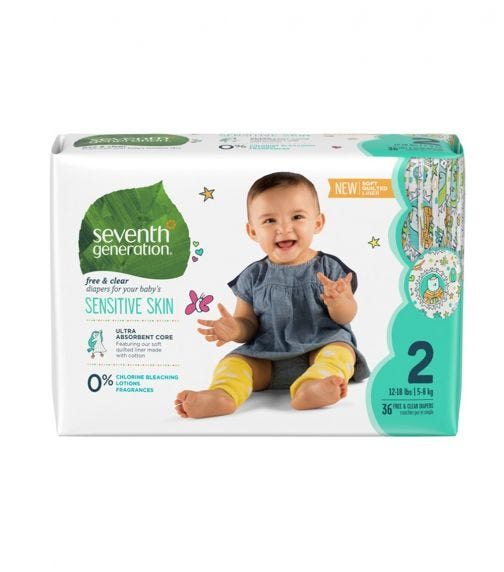 SEVENTH GENERATION Baby Diapers - Stage 2 (12- 18 Lbs)