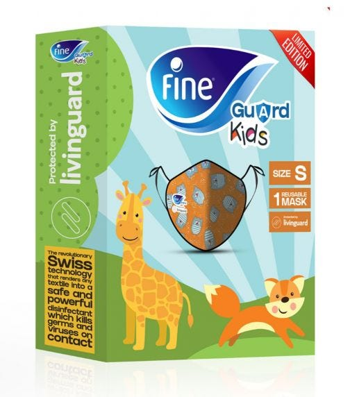 FINE GUARD Kids Face Mask, Reusable Face Mask With Livinguard Technology - Orange Limited Edition, Size Small